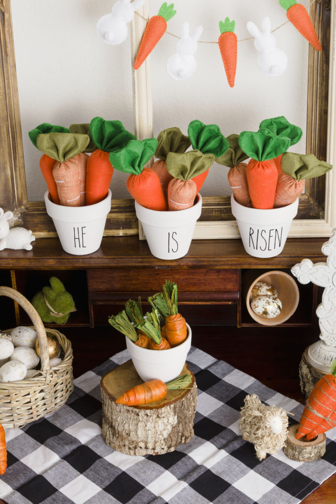He is Risen flower pots display, Easy Easter decorating