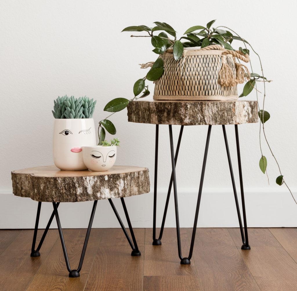 Tree Slice Hairpin Tables DIY, Romantic Boho chic bedroom makeover