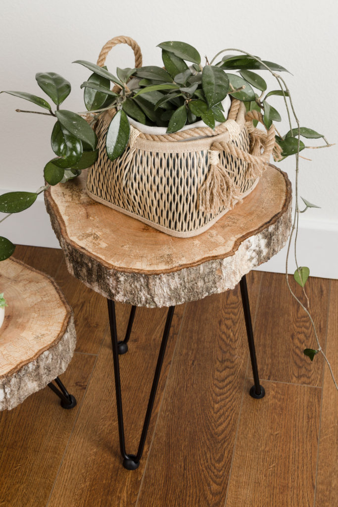 Basket planter, groovy DIY hairpin leg tables