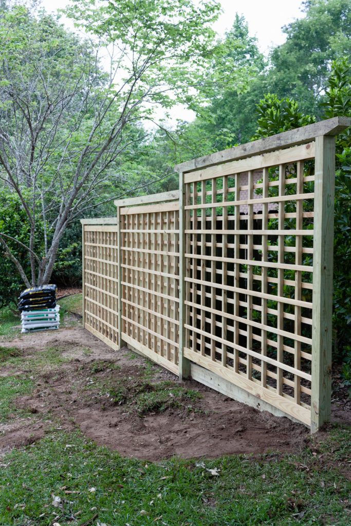 Garden Screen Trellis before lanterns, and hanging baskets. step by step guide