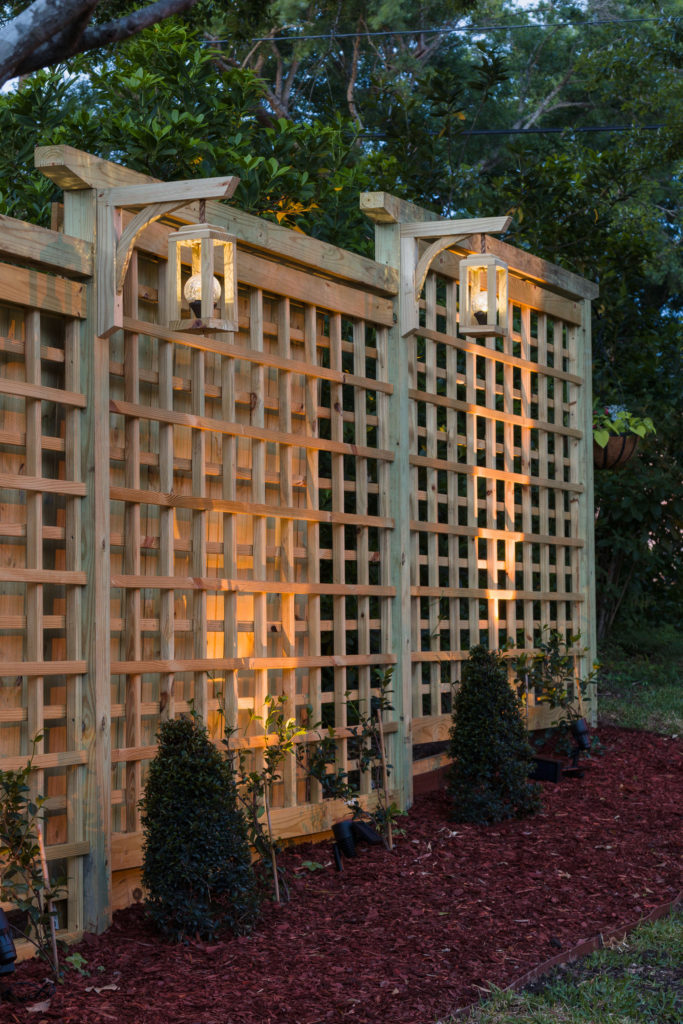 Trellis at dusk, solar lanterns and garden screen