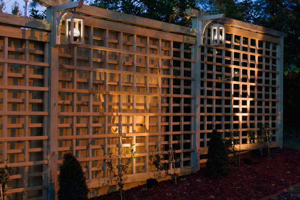 Night Time Trellis, featuring solar lanterns,Night Time Garden Screen Trellis DIY