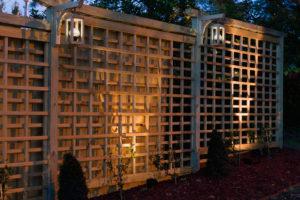 Night Time Trellis, featuring solar lanterns