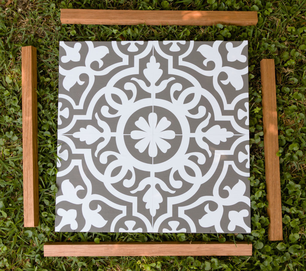 Exotic wood frame, faux tile