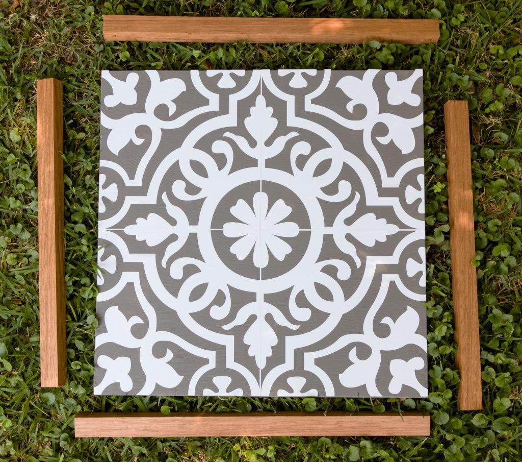 Exotic wood frame, faux tile
