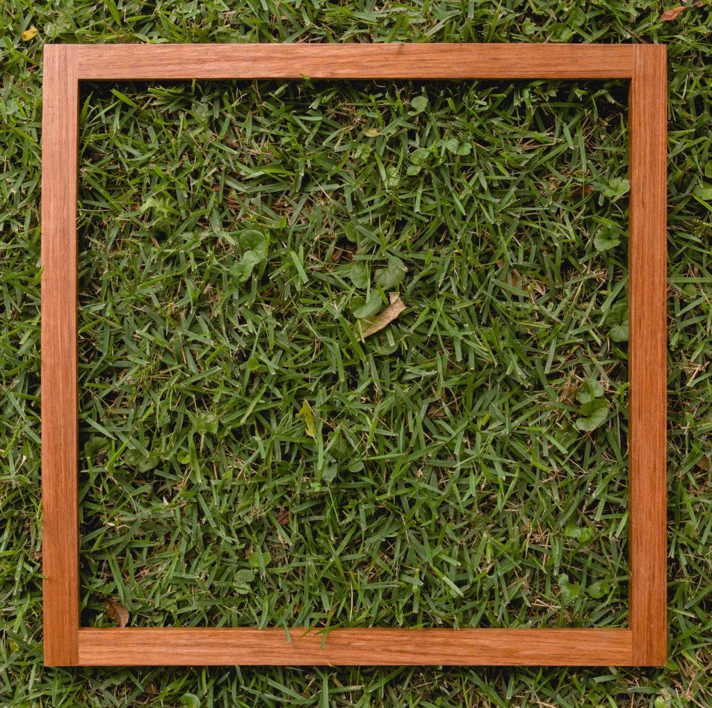 Custom wood frame for faux tile art
