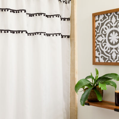 DIY Shower Curtain Ties, fresh updated Boho style bathroom on a budget