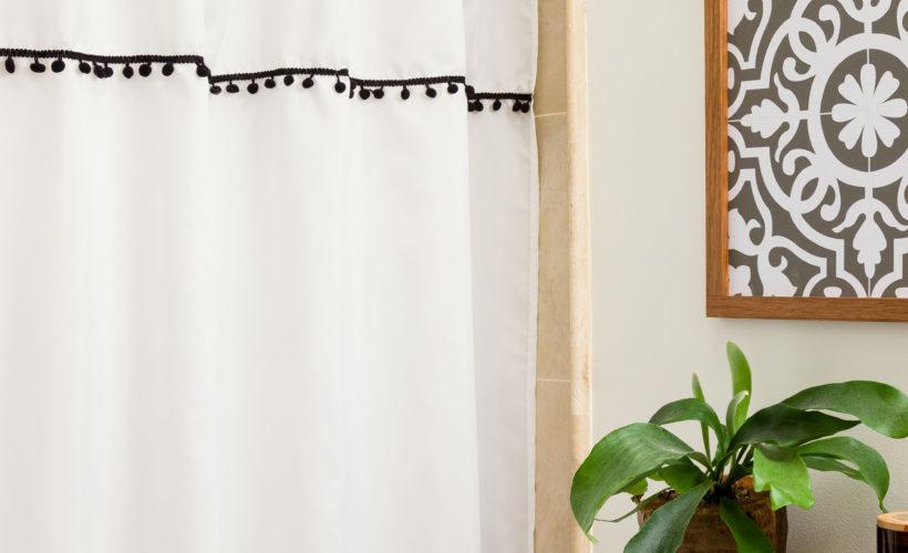 DIY Shower Curtain Ties, fresh updated Boho style bathroom on a budget