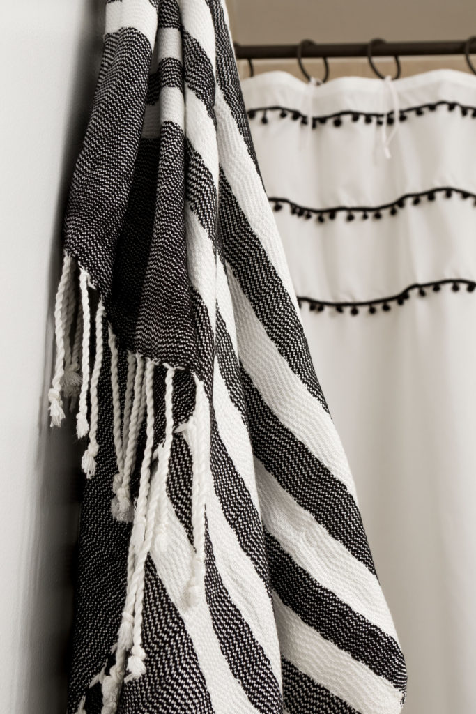 Turkish towels, Boho Style Shower Curtain with Ties, learn how, fresh bathroom updates