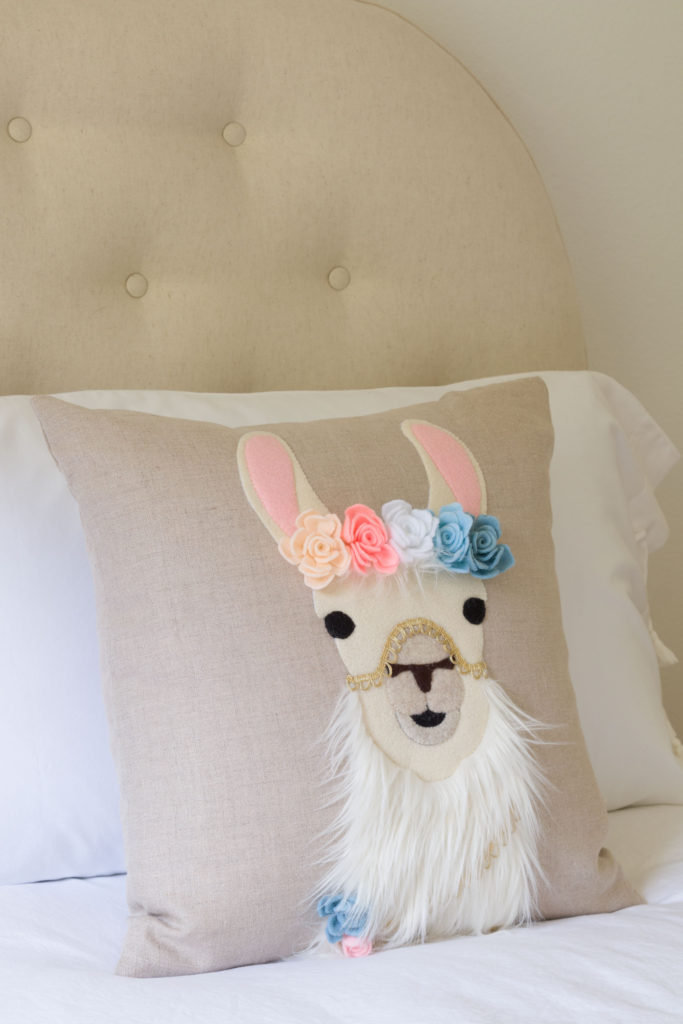 Olivia's pretty bed, easy DIY llama pillow, FREE DIY files