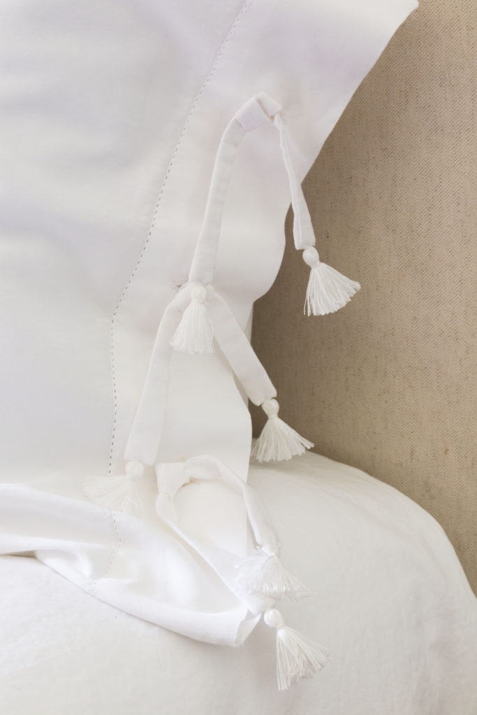 Tassel ties on pillow sham