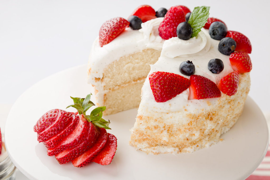 French Vanilla Cake with fruit garnish