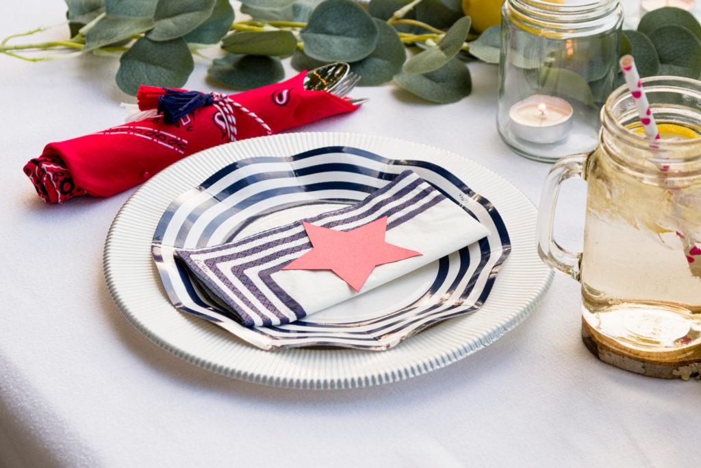 Place setting with bandanna napkin with tassels