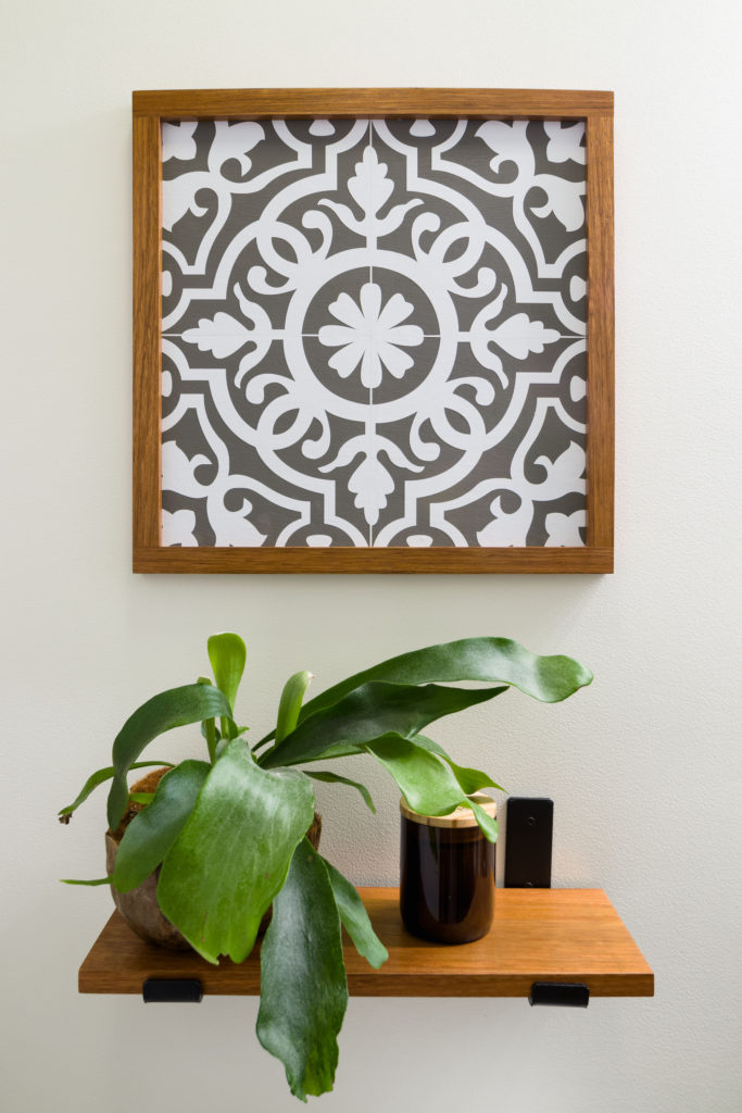 New shelf and faux Moroccan tile art with exotic wood frame