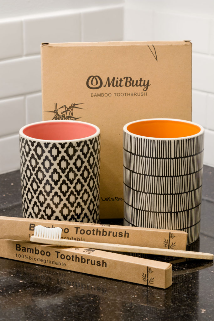 Toothbrush holders and bamboo toothbrushes