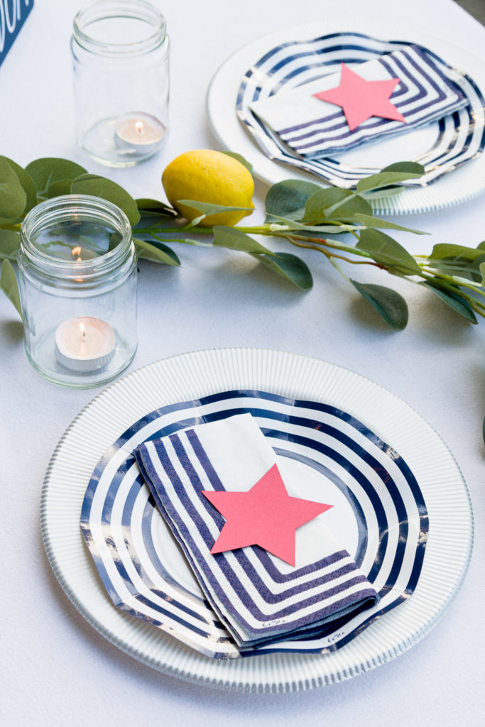 Simple 4th of July barbeque table settings
