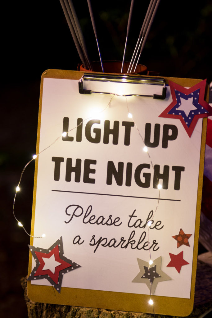 Light up the night sparkler sign
