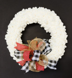 DIY Loopy Yarn Wreath with Funky Bow