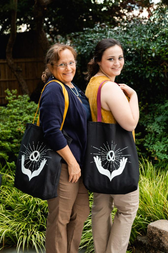 Ladies holding Handmade Tote Bags