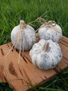 Crinkle pumpkins with raffia