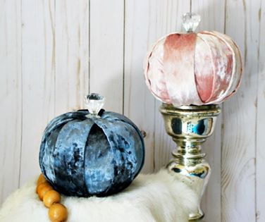 Dollar store pumpkins updated with velvet fabric