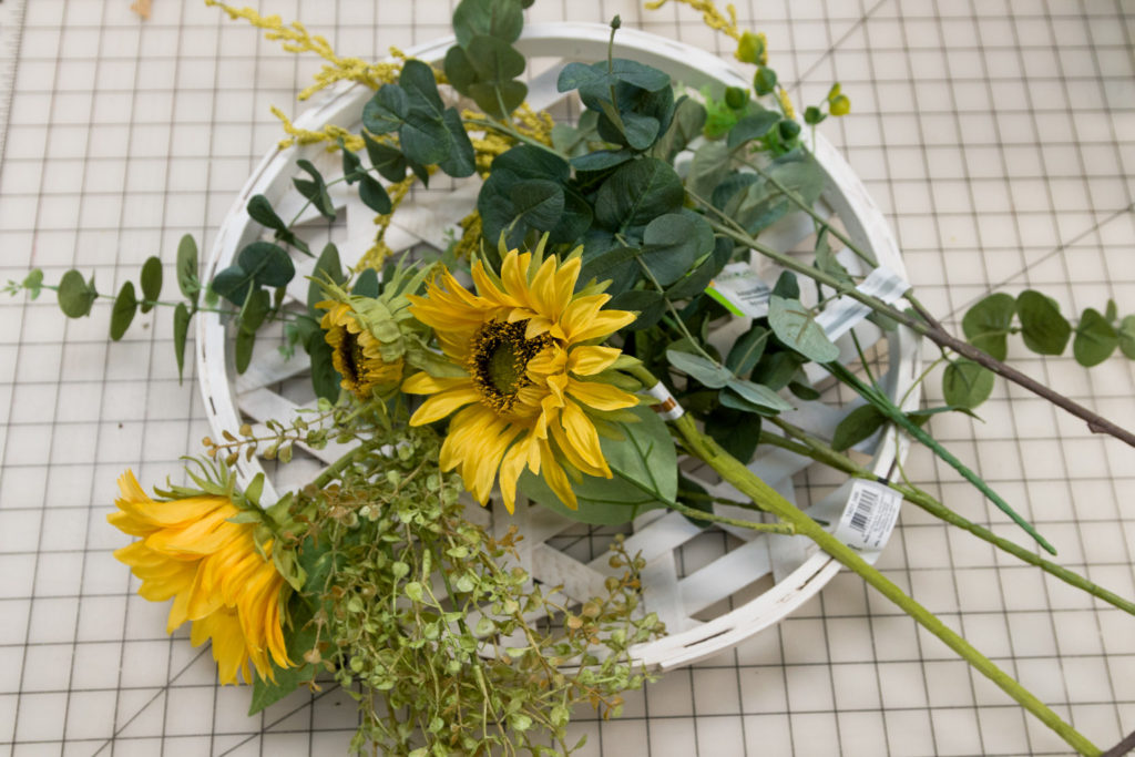 athered sunflower wreath supplies