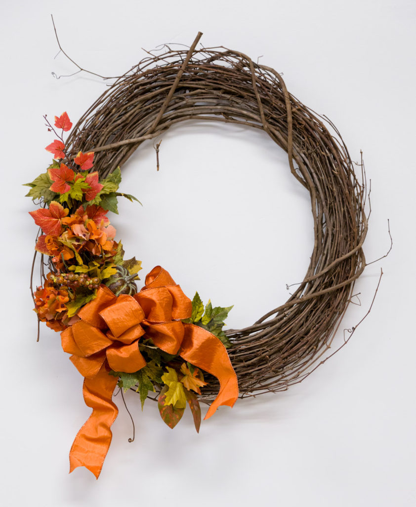 Fall grapevine wreath with one ribbon wonder bow