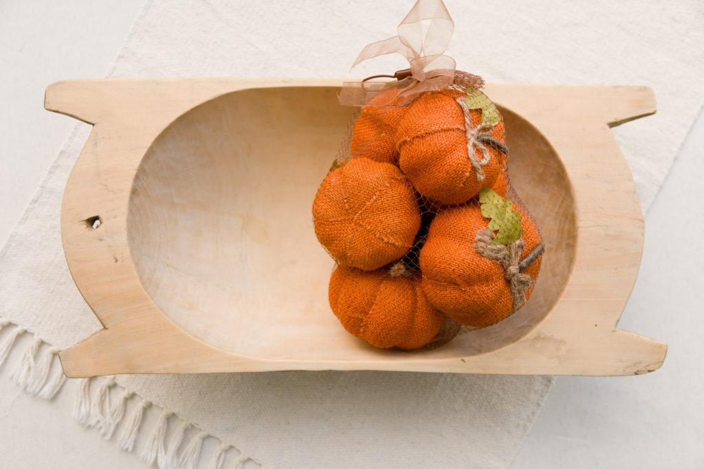 Dough bow with burlap pumpkin vase fillers