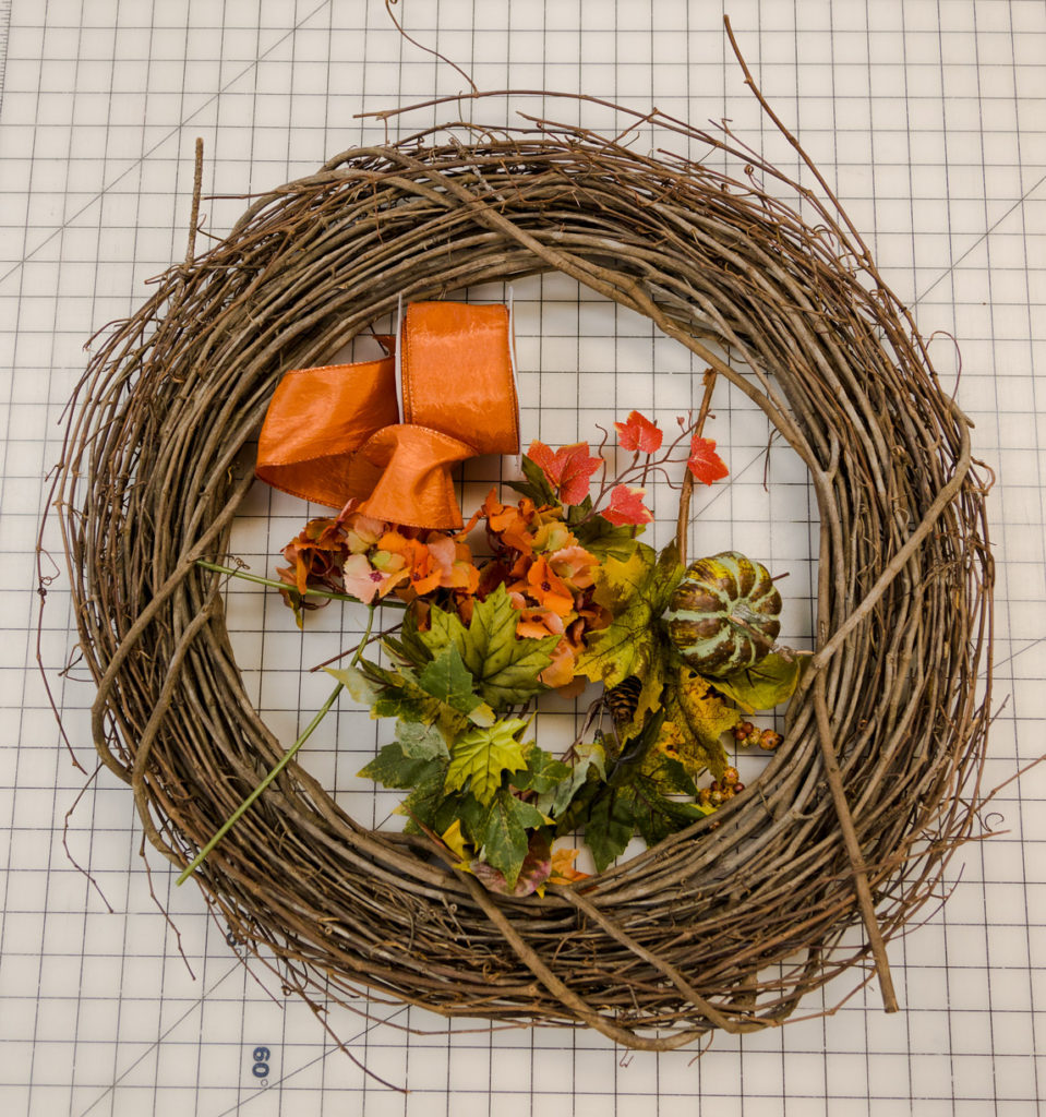 Pumpkin fall wreath supplies