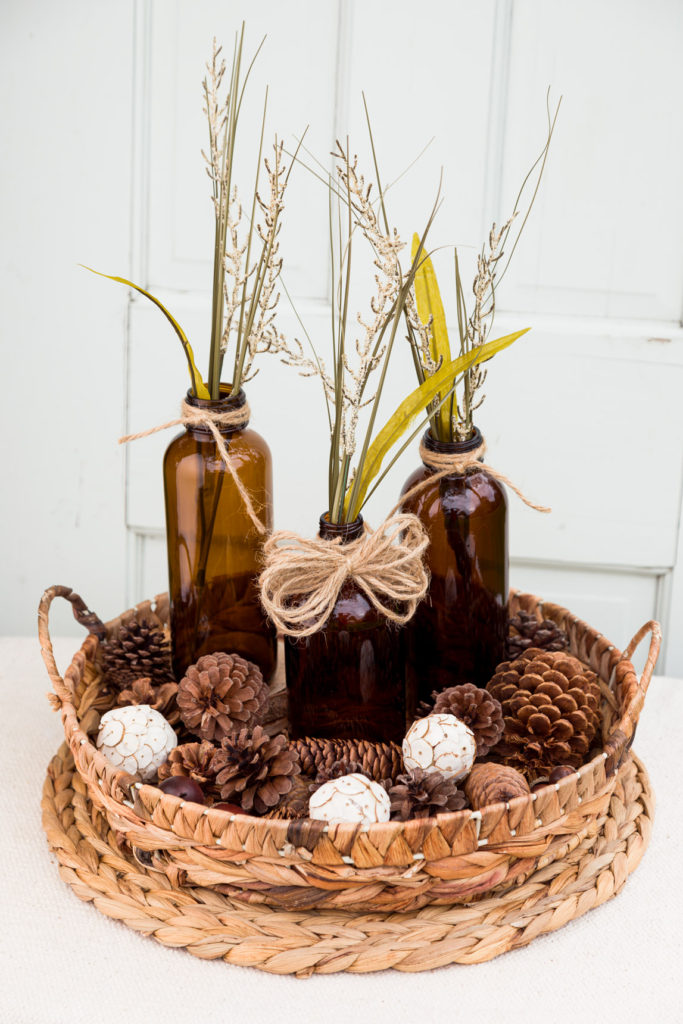 Wicker tray filled with Fall decor