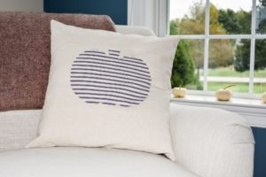 Striped pumpkin applique pillow