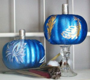 Decoupaged Dollar Tree pumpkins