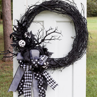 Halloween Wreath | Multi Ribbon Bow