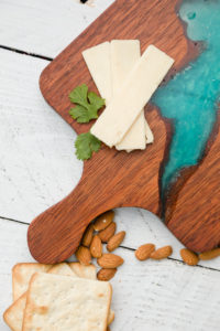 Exotic wood cheese board with resin