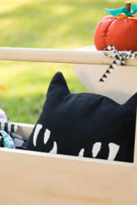 Cute kitty pillow in wooden tote with pumpkins