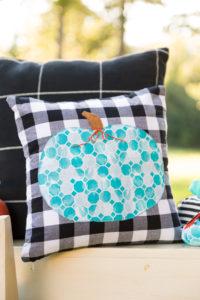 Teal pumpkin applique pillow
