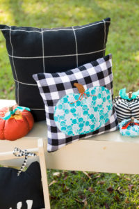 Teal Pumpkin Project pillows and easy sew pumpkins