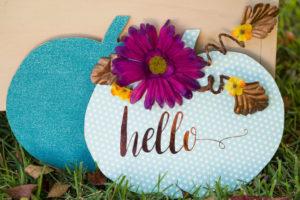 Hello teal pumpkin door hanger