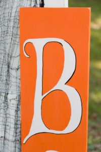 Closer look at the B on the orange Boo sign