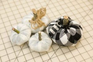 Easy sew fabric pumpkins in buffalo check fabric