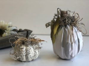 Paper and fabric pumpkins