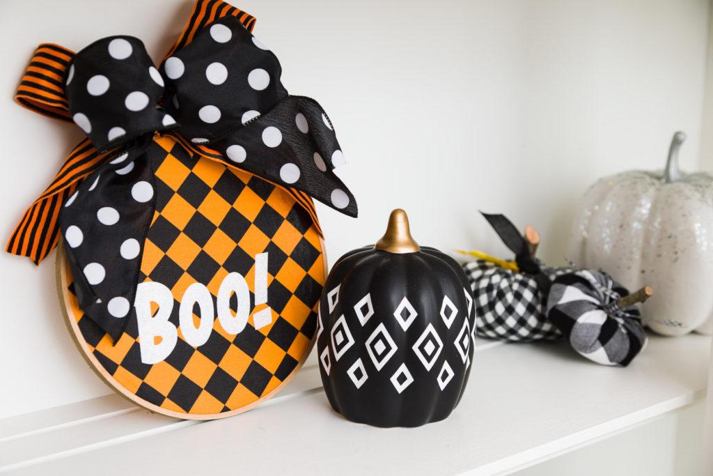 Boo Halloween hoop and Boho pumpkin