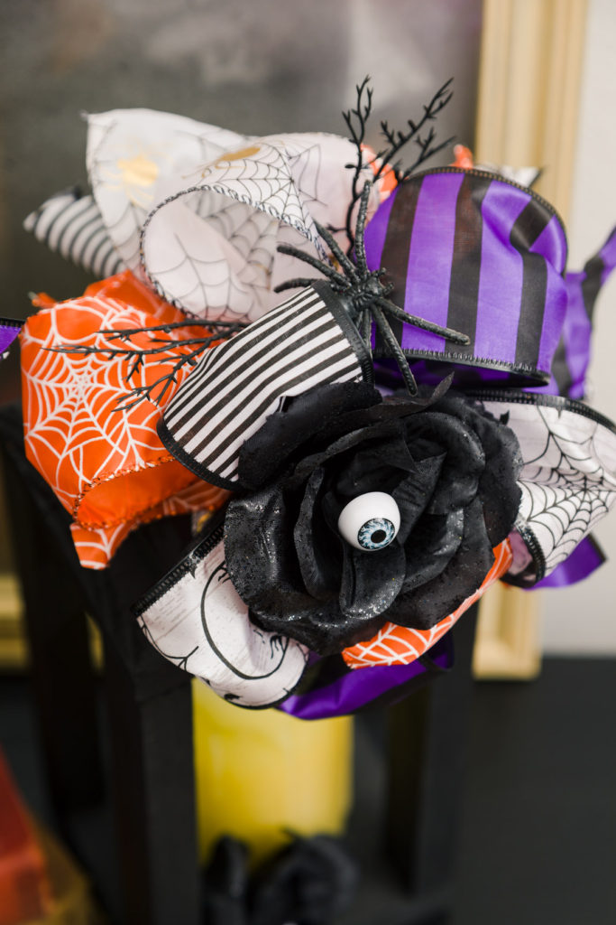 Halloween Dollar Tree Ribbon Bow floral and spiders