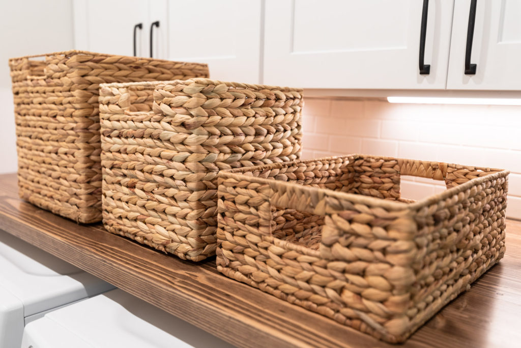 Storage baskets for mudroom organization