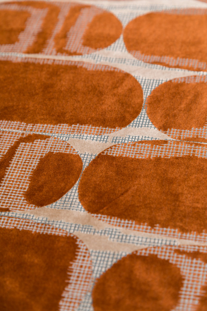 Velvet fabric from fabricut in pattern Scarab in the color rust for a pillow