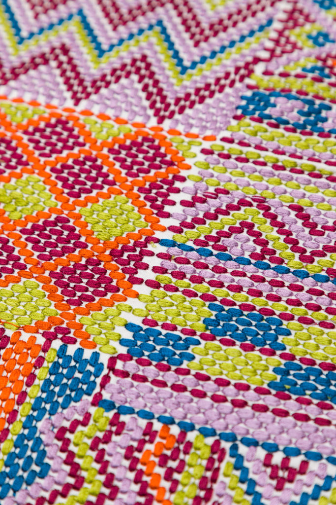 This embroidered fabric by Fabricut is Kismet Moderno will make a gorgeous bohemian pillow