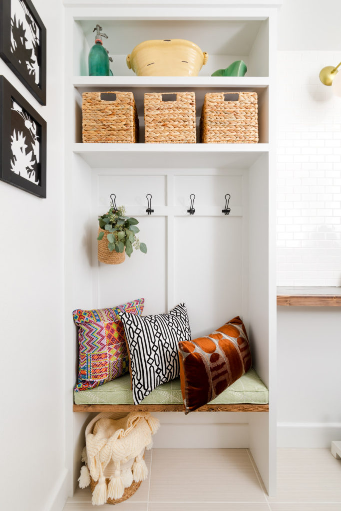 DIY Mudroom Hall Tree with bench cushions and pillows