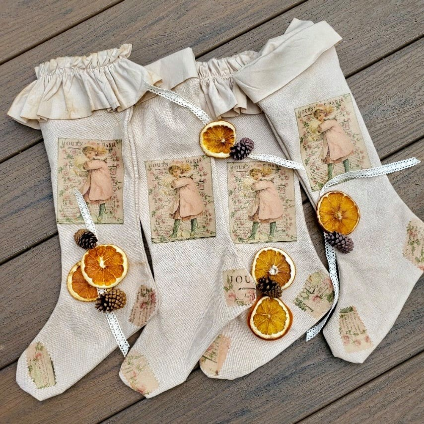 tea-stained stockings with pretty vintage patches and trim