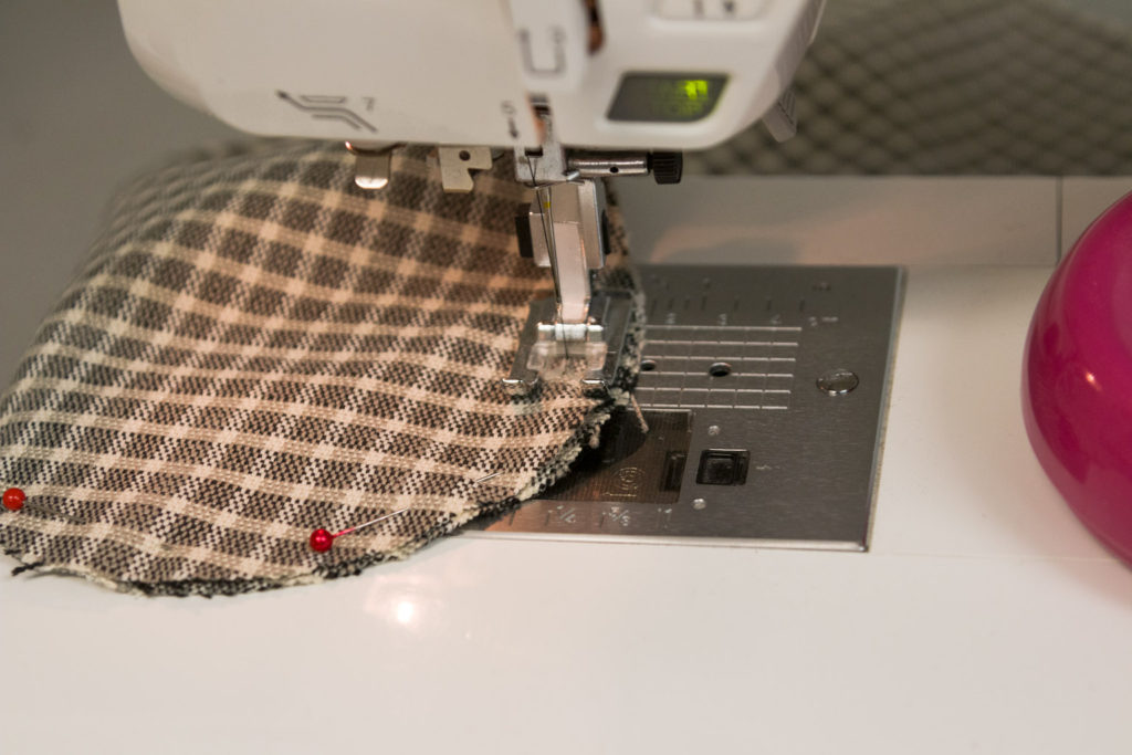 Sewing the stocking plaid face fabric