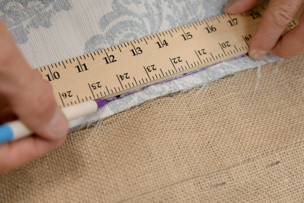 Marking the channel-back sections on the burlap